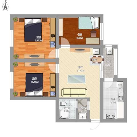 建欣苑三里3室1厅1卫1厨95.00㎡户型图