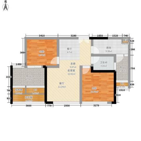 中渝山顶道壹号2室0厅1卫1厨64.56㎡户型图