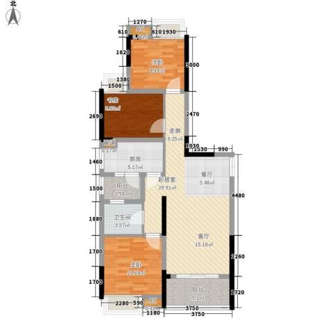 中渝山顶道壹号3室0厅1卫1厨108.00㎡户型图