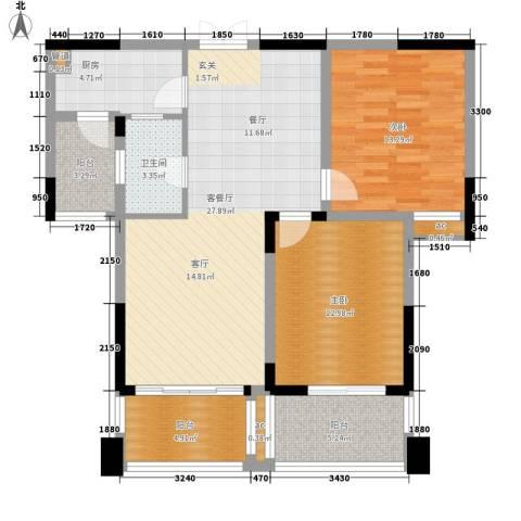 兰庭国际公馆2室1厅1卫1厨89.00㎡户型图