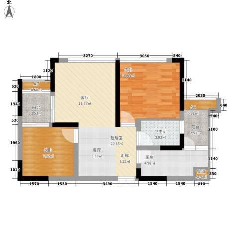 中渝山顶道壹号2室0厅1卫1厨80.00㎡户型图