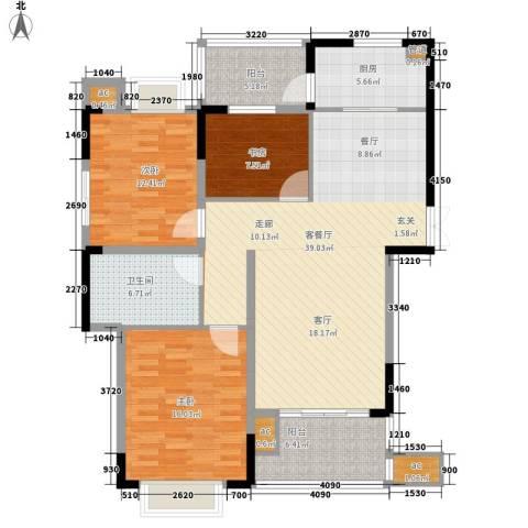 兰庭国际公馆3室1厅1卫1厨116.00㎡户型图