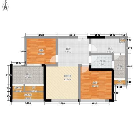 中渝山顶道壹号2室0厅1卫1厨96.00㎡户型图