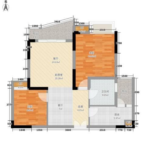 中渝山顶道壹号2室0厅1卫1厨69.00㎡户型图