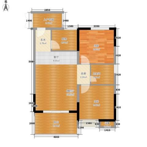 欣宇都市港湾2室1厅1卫1厨78.00㎡户型图