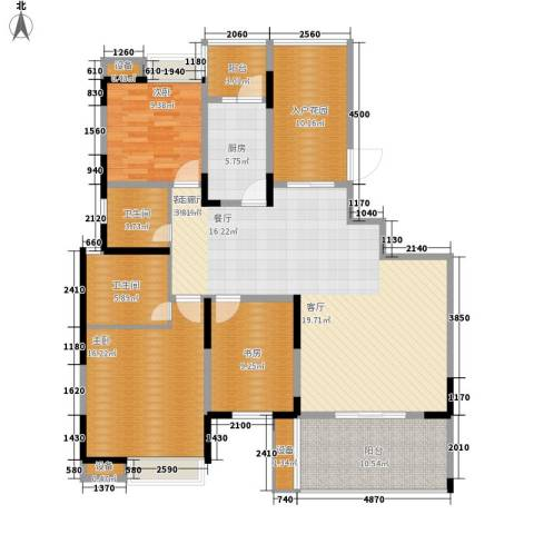 欣宇都市港湾3室1厅2卫1厨128.00㎡户型图