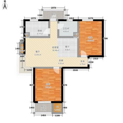 金厦水语花城2室0厅1卫1厨90.00㎡户型图