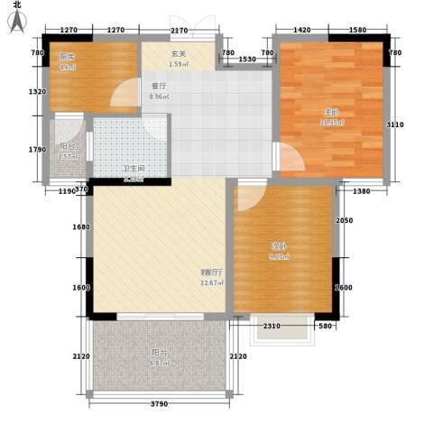 欣宇都市港湾2室1厅1卫1厨75.00㎡户型图