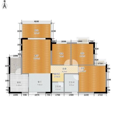 欣宇都市港湾3室1厅2卫1厨104.00㎡户型图