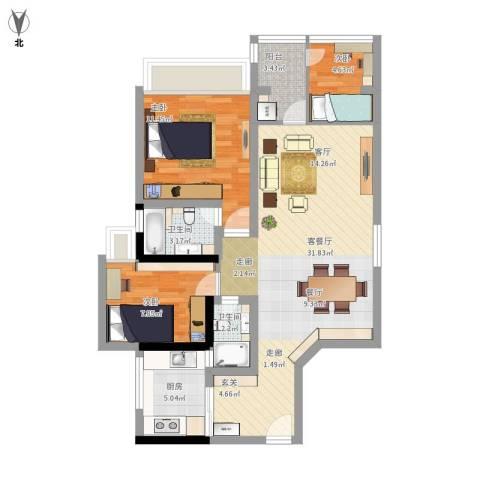 怡廷豪园3室1厅2卫1厨102.00㎡户型图