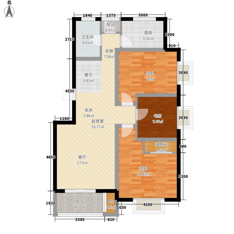 金厦水语花城121.00㎡房型: 三房; 面积段: 121 -140 平方米;户型