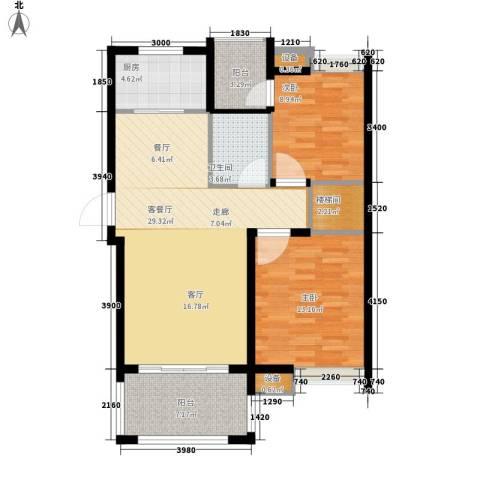 香山听泉2室1厅1卫1厨83.60㎡户型图