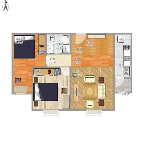 紫金新干线二期2室1厅1卫1厨83.00㎡户型图