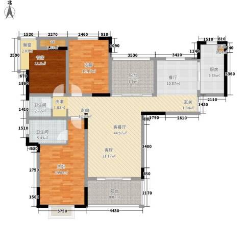 兰庭国际公馆3室1厅2卫1厨175.00㎡户型图