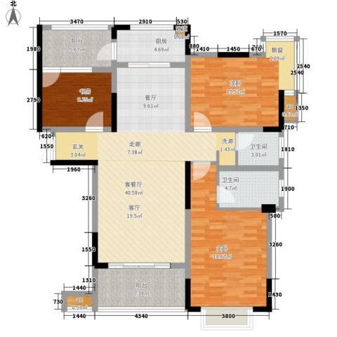 兰庭国际公馆3室1厅2卫1厨128.00㎡户型图