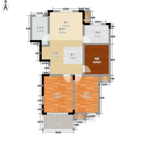 清华苑3室1厅1卫1厨107.00㎡户型图