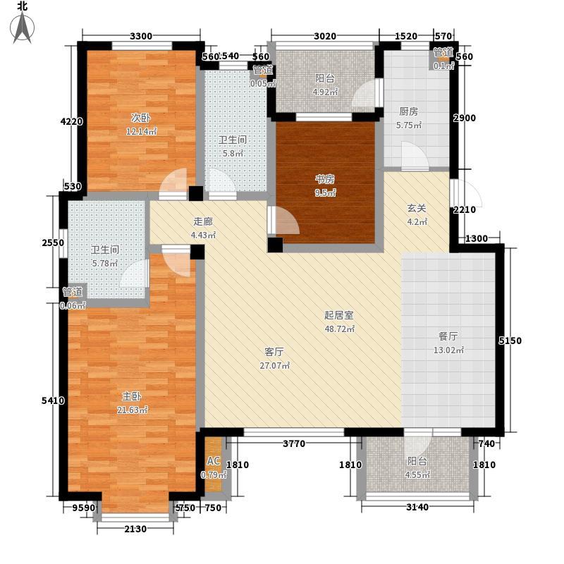 金厦水语花城M4―三室一厅二卫148.95平米户型