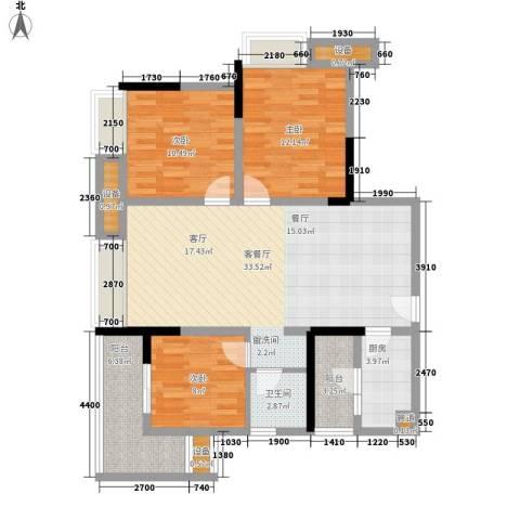 盛世明珠3室1厅1卫1厨85.00㎡户型图