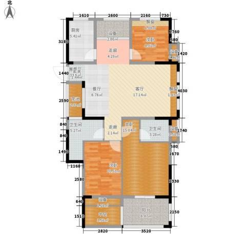 中嘉银都水岸3室1厅2卫1厨114.00㎡户型图