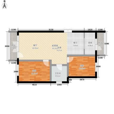 万城华府2室0厅1卫1厨92.00㎡户型图