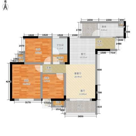 盛世明珠3室1厅1卫1厨109.00㎡户型图