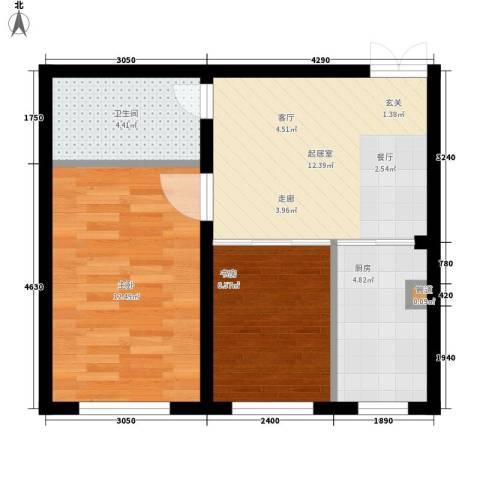 华海城2室0厅1卫1厨59.00㎡户型图
