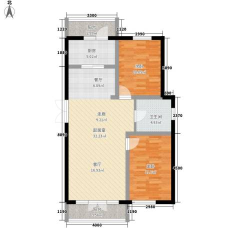 万城华府2室0厅1卫1厨102.00㎡户型图