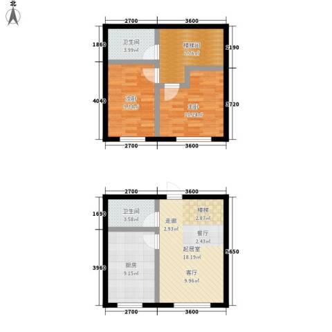 万城华府2室0厅2卫1厨91.00㎡户型图