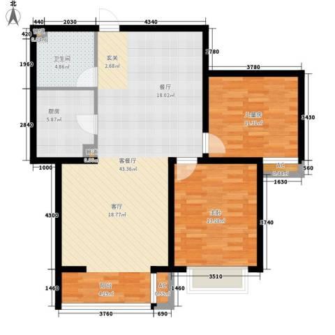 简筑2室1厅1卫1厨89.00㎡户型图