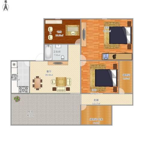 三元二村3室1厅1卫1厨304.00㎡户型图