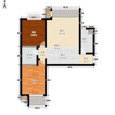 简筑2室1厅1卫1厨98.00㎡户型图