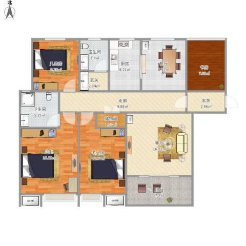 锦江・城市花园二期4室2厅2卫1厨149.00㎡户型图