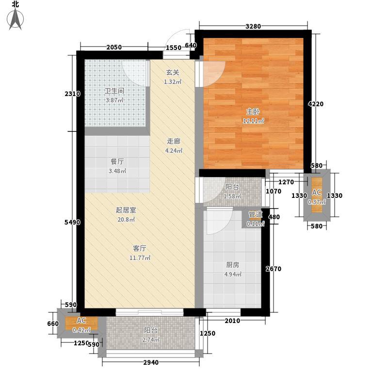 金厦水语花城65.50㎡一室两厅一位――65.5平米户型
