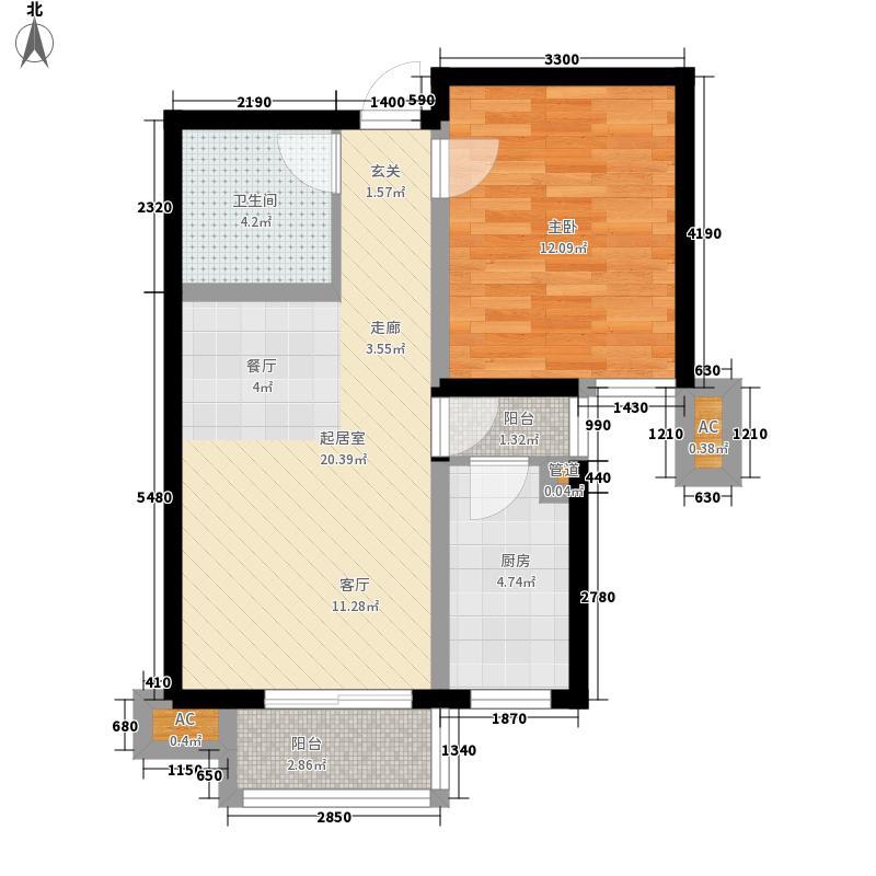 金厦水语花城一室二厅一卫65.5平米户型