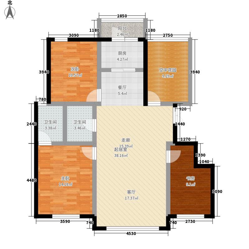 万城华府120.00㎡三室两厅两卫户型