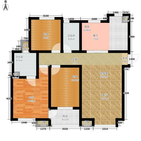 红磡领世郡领世深白1室0厅2卫1厨137.00㎡户型图