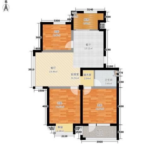 保莱蓝湾国际3室0厅1卫1厨118.00㎡户型图