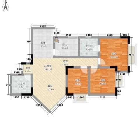 岭秀锦园3室0厅2卫1厨114.00㎡户型图