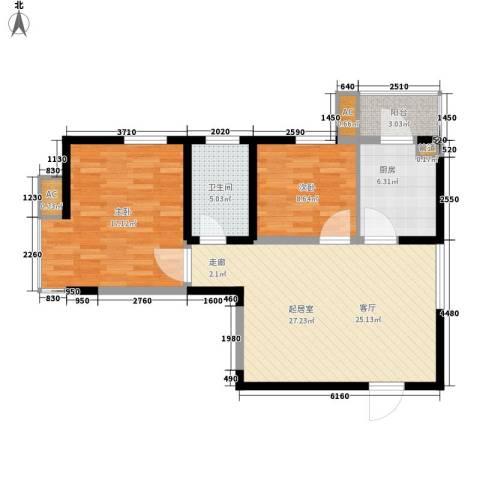 云顶峰尚2室0厅1卫1厨98.00㎡户型图