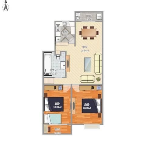 万家花园家和苑2室1厅1卫1厨89.00㎡户型图