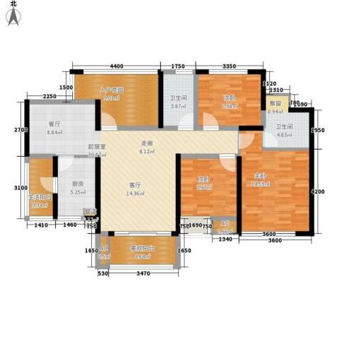 鲁能星城十街区3室0厅2卫1厨115.00㎡户型图
