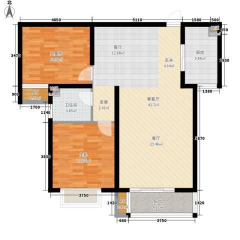 简筑2室1厅1卫1厨96.00㎡户型图