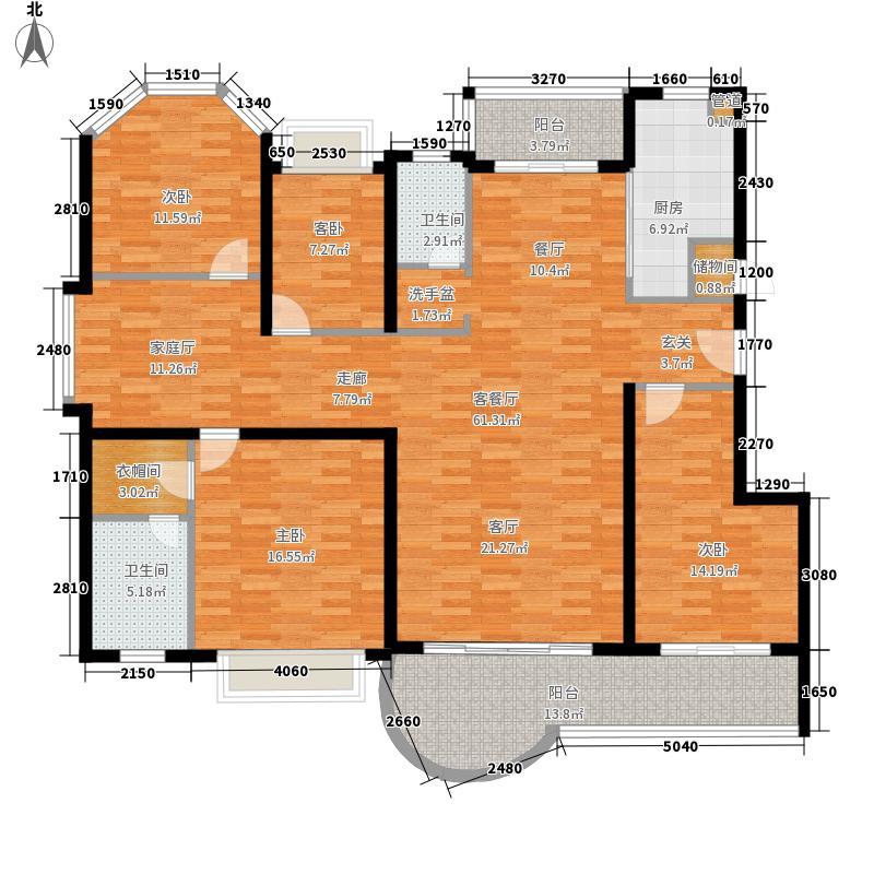 金山家园168.66㎡四室三厅户型