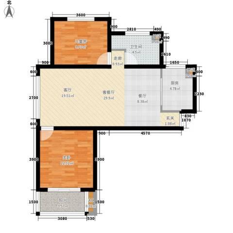 简筑2室1厅1卫1厨97.00㎡户型图