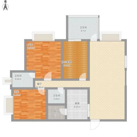 南城都汇二期2室1厅3卫1厨158.00㎡户型图