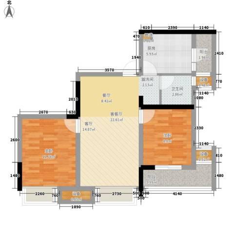 盛世明珠2室1厅1卫1厨64.00㎡户型图