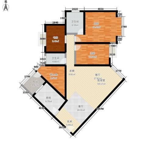 岭秀锦园4室0厅2卫1厨150.00㎡户型图