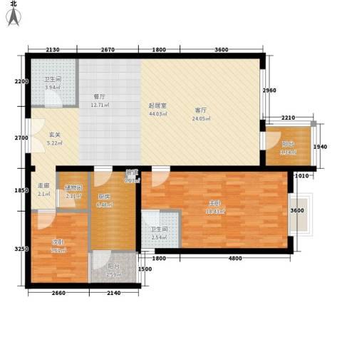 金科桦林景苑2室0厅2卫1厨129.00㎡户型图