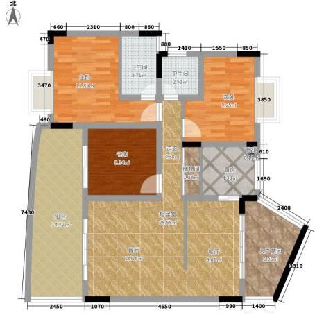 伴山名都3室0厅2卫1厨114.00㎡户型图