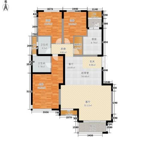 浩天天娇源3室0厅2卫1厨183.00㎡户型图
